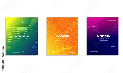 Set of three modern cover design with artsy geometric shape Canvas Print