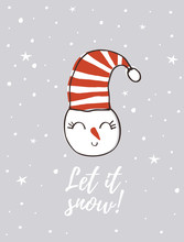 Let It Snow. Cute Winter Holidays Vector Illustration With Lovely Snowman Isolated On A Light Gray Background. Simple Winter Sky With White Stars And Snow.Funny Christmas Art For Card,Greeting,Poster.