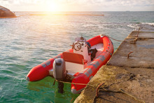 Red Rescue Inflatable Boat Moo...