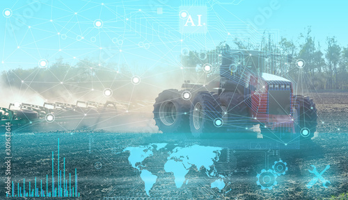 geolocation of agricultural machinery and automatic cultivation and cultivation of fields without human intervention. Future technologies applied in agriculture today