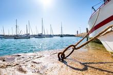 Sailing Boats Moored To Buoys ...
