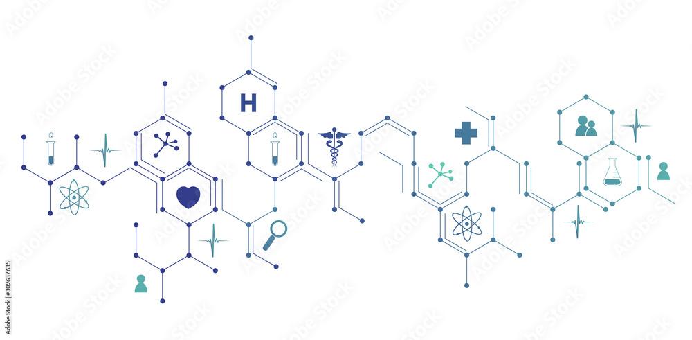 Fototapeta icone, mediche, farmaceutica, struttura esagonale, salute