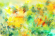 canvas print picture - Abstract colorful modern painting . Textured background in shades of yellow , green and red.