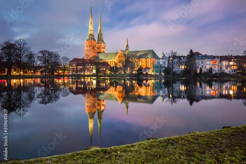 Dom zu Lübeck am Mühlenteich abends Canvas Print