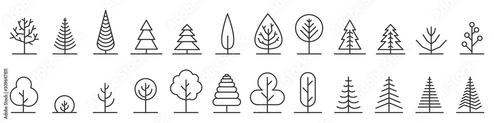 Fototapeta Big set of minimal trees linear icons - vector