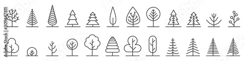 Leinwand Poster Big set of minimal trees linear icons - vector