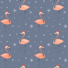 Cute Cartoon Christmas Seamless Vector Pattern Background Illustration With Flamingos With Santa Claus Hat, Stars And Snowflakes