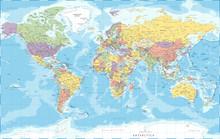 World Map - Political - Vector Detailed Illustration
