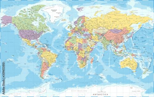 Obraz na plátně World Map - Political - Vector Detailed Illustration