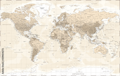 world-map-vintage-retro-old-style-vector-detailed-illustration