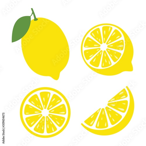 Obraz na plátně Fresh lemon fruits, Lemon icon vector illustration set