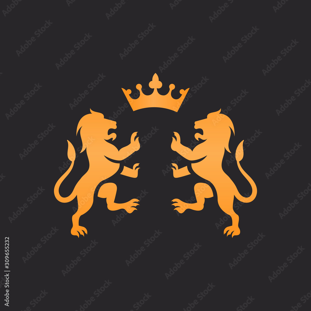 Fototapeta two lion with crown vector logo design isolated on black background