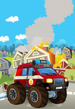 Cartoon Scene With Fireman Car...