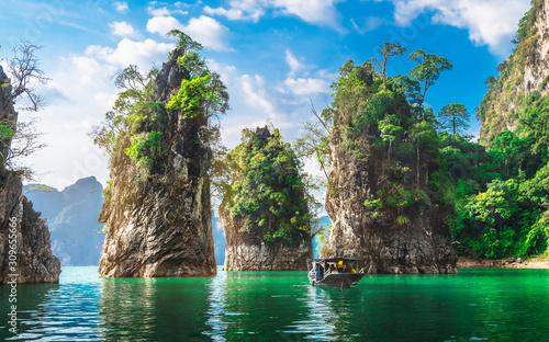 Beautiful nature scenic landscape view rock mountain Khao Sok national park with Fototapeta