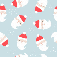 Seamless Pattern With Santa Claus. Cute Winter Print. Vector Hand Drawn Illustration.