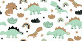 Fototapeta Fototapety na ścianę do pokoju dziecięcego - Scandinavian dino dinosaur seamless pattern