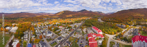 Lincoln Main Street at town center and Little Coolidge Mountain on Kancamagus Highway panorama aerial view with fall foliage, Town of Lincoln, New Hampshire NH, USA Canvas Print