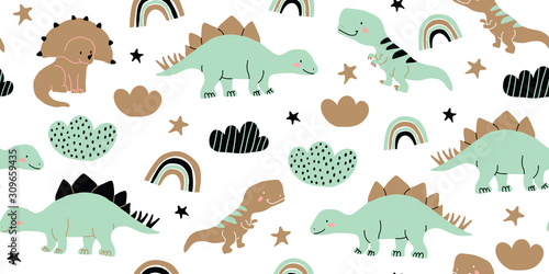 fototapeta na lodówkę Scandinavian dino dinosaur seamless pattern