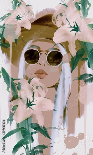 Watercolor painting of a fashion girl or woman with hat and sunglasses with lily flowers and kissing lips. Concept of spa, nature and beauty