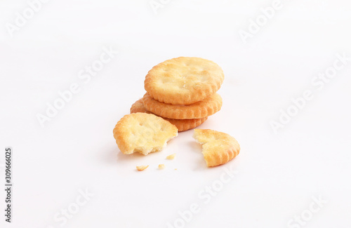 crackers biscuit snack on white background Canvas Print