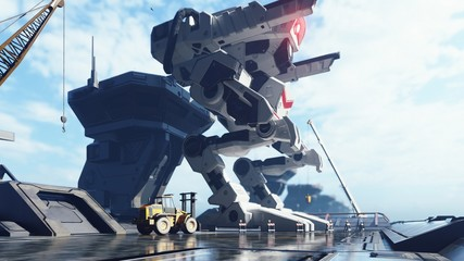 A huge military robot on a futuristic military training ground. An apocalyptic view of the technology of the future. 3D Rendering