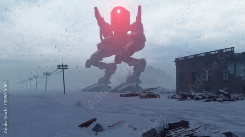 Photo A huge military robot stands in the middle of the ruined apocalyptic city