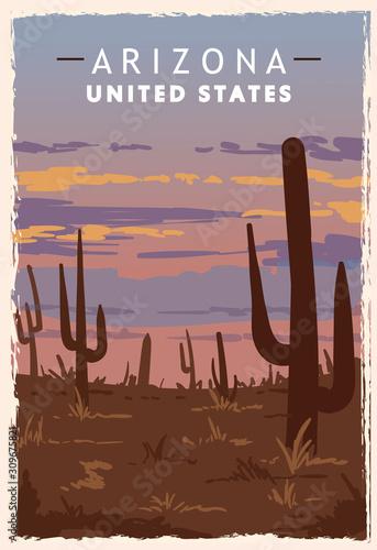 Arizona desert retro poster Canvas Print