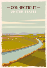 Connecticut Retro Poster. USA Connecticut Travel Illustration. United States Of America Greeting Card.