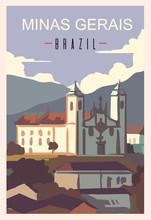Minas Gerais Retro Poster, Travel Illustration. States Of Brazil