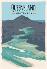 Queensland Retro Poster. Queensland Travel Illustration. States Of Australia Greeting Card. Whitehaven Beach