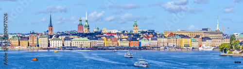 Photo Panoramic view at Stockholm old city Galma Stan as seen  from the Sea