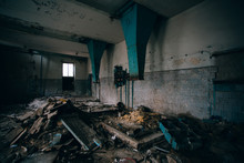 Old Broken Dirty Abandoned Industrial Building Interior