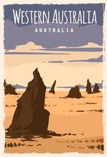 Western Australia Retro Poster Travel Illustration. States Of Australia Greeting Card.
