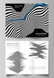 The minimal vector illustration of editable layouts. Modern creative covers design templates for trifold brochure or flyer. Abstract big data visualization concept backgrounds with lines and cubes.
