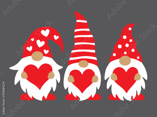 Fényképezés Cute three valentine gnomes holding hearts vector illustration.