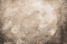 Light Beige, Brown, Earthy Textured Watercolor Background With Hand Drawn Mandala