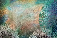 Warm Blue, Green, Yellow Textured Watercolor Background With Mandalas