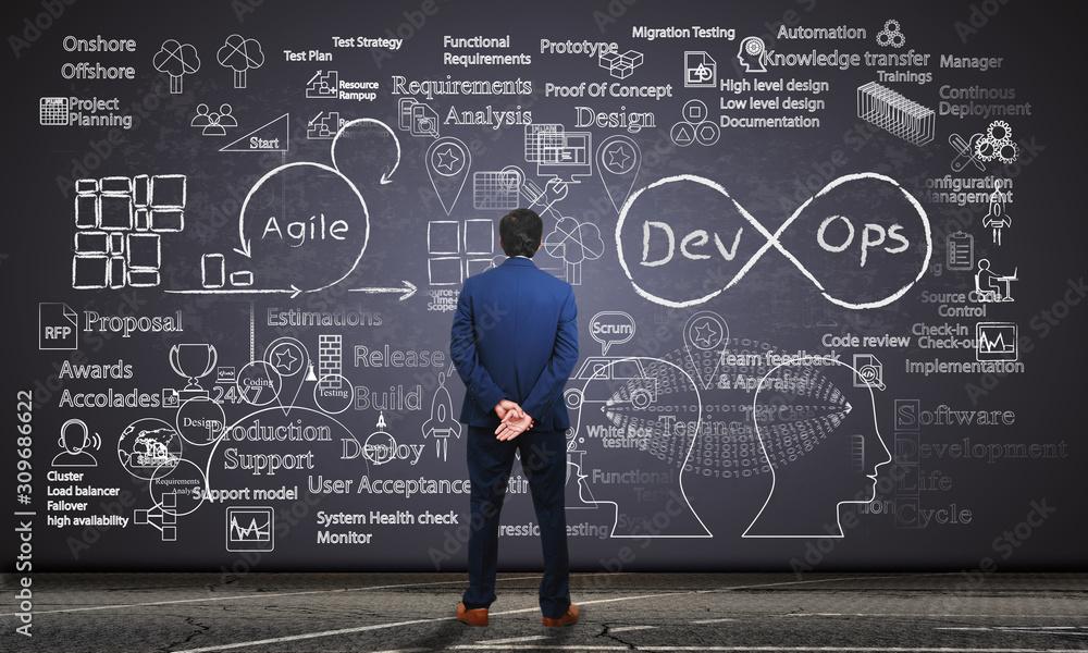 Fototapeta Software engineer observing software development processes on a blackboard