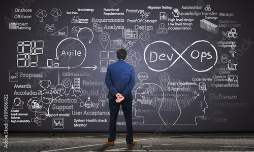 Photo Software engineer observing software development processes on a blackboard
