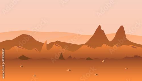 Fototapety, obrazy: Martian orange surface panorama