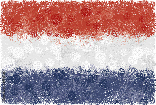Photo Flag of Netherlands with snowflakes. Winter vector background