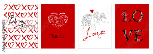 Cuadros en Lienzo Set of Valentine's day greeting cards with hand written greeting lettering and decorative textured brush strokes on background