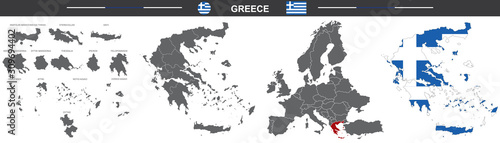 Obraz vector political map of Greece on white background - fototapety do salonu