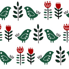 Folk Art Seamless Pattern With Flowers And Birds. Scandinavian Nordic Style. Bright Hand Drawn Shapes On White Background.