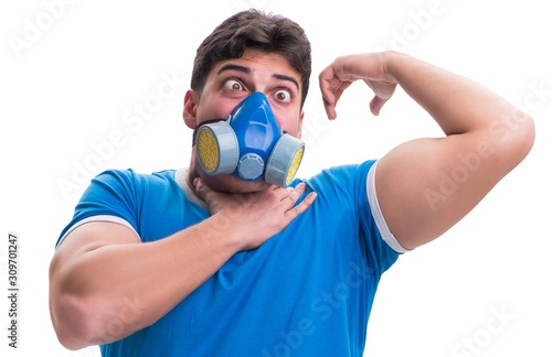 Man sweating excessively smelling bad isolated on white backgrou Wallpaper Mural