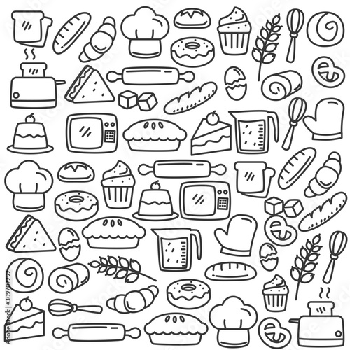 Set of cute bread and bakery doodle vector illustration. Bread and bakery doodle background  Fototapete