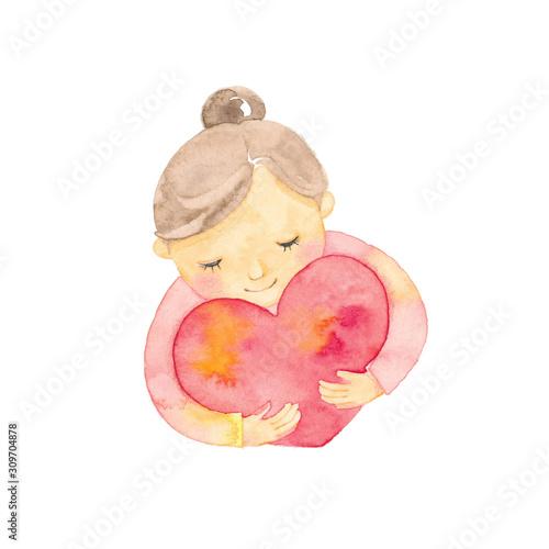 Obraz na plátně ハートを抱える女の子