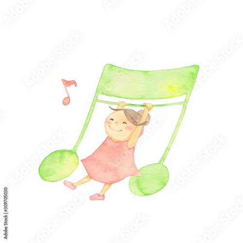 Obraz 音符と戯れる女の子 - fototapety do salonu