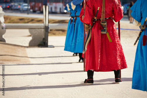 Guards in Korean traditional costume event Canvas Print