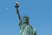 Lady Liberty In New York City USA America Isolated On Blue Sky With Moon